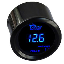 "2"" 52mm Car Blue LED Light Digital Volt Voltage Gauge Meter Black Cover HC"