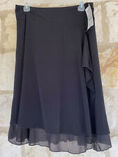 Wrapper NWT Women's Black Knee Length Skirt Ruffle Detail  Sheer Hem Size M