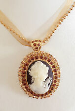 New Vintage Style Cameo Brown Oval Crystals Charm Bamboo Chain Necklace NE01169