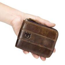 Bullcaptain Genuine Leather Men Wallet RFID Blocking Vintage Bifold Wallets C R9