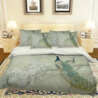 3D Peacock Branch 5 Bed Pillowcases Quilt Duvet Cover Set Single Queen US