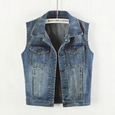 Womens Denim Waistcoat Biker Crop Jacket Vest Jeans Tops Gilet Sleeveless Street