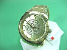 BULOVA CARAVELLE NEW YORK 44L159 LADIES DRESS WATCH GOLD PL & CRYSTAL ANALOG