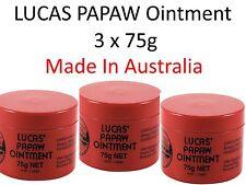 3 x 75g LUCAS PAPAW Ointment Nappy Rash Cream PAW Cracked Lip Gloss  木瓜霜75克