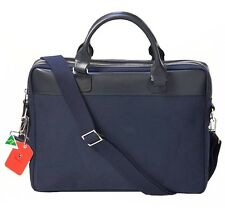 Blue Canvas Briefcase Cross Body Satchel Genuine Leather Trim for Men and Women