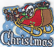 """""""CHRISTMAS"""" PATCH w/SANTA, SLEIGH & REINDEER - Iron On Applique Patch/Holiday"""