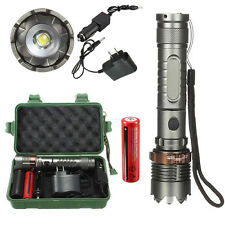 100000Lm T6 LED Flashlight Torch Zoomable Tactical + 18650 Battery+Charger+Case