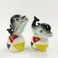 Vintage Salt Pepper Shakers Set Florida Souvenir Dolphin on Balls Japan  *381