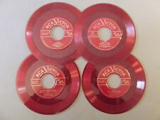 "LOT: 4 RED 7"" 45RPM COLORED VINYL RECORDS CRAFTS DECORATION RCA VICTOR"