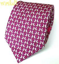 SALVATORE FERRAGAMO raspberry with CHICKENS & pink EGGS silk MENS tie NWT Authen