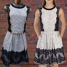 Exquisite KAREN MILLEN BLACK WHITE Floral Lace 50's Style Cocktail DRESS SZ 10