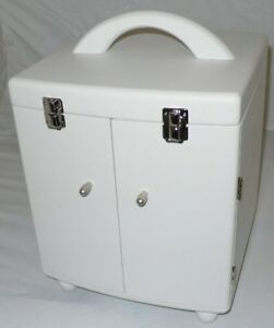 White Finish Wooden Storage Carrying Case Cosmetic or Jewelry box or Tool Case