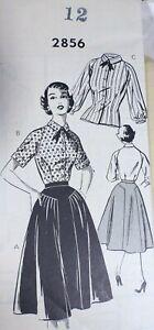 Vtg 1950s Mail Order 2856 Raglan Blouse Full Gathered Skirt SEWING PATTERN 12