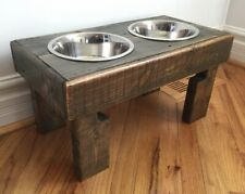 Reclaimed Elevated Pallet Dog Bowl Stand Pet Feeding Station With 2 New Bowls