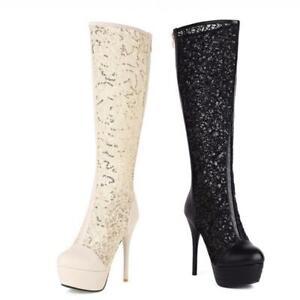 Sexy Women's Platform Clubwear Knee High Boots Round Toe Stilettos Heel Party D