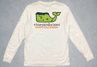 Men's Small Vineyard Vines Happy Halloween Long Sleeve Pocket-Tee Shirt White