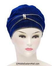 US Seller Women Bonnet Cancer Chemo Hair loss #5 Royal Blue Dazzle Hijab Caps