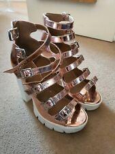 ASOS Metallic Rose Gold, buckle platform sandal heels UK Size 6