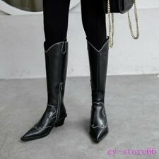Womens Cowboy Leather Casual Knee High Rding Boots Pointy Toe Punk Chunky Heel 9