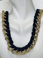 Mid 1900's Vintage Navy Blue And Gold Tone  Woven Chain Link Necklace Jewelry