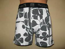 NEW BOYS GREY FLORAL PRINT TRENDY QUIKSILVER FITTED COTTON BOXER AGE 13-15 26/28