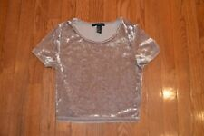 Womens FOREVER 21 Brown Crushed Velvet Crop Top Size S