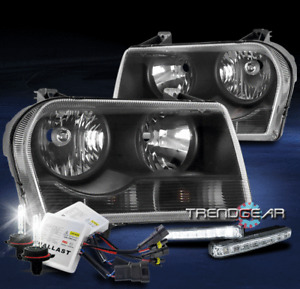 FOR 2005-2010 CHRYSLER 300 REPLACEMENT BLACK HEADLIGHTS W/LED DRL+6000K HID KIT