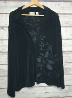 Chicos Travelers Womens Cardigan Top Long Sleeve Black Slinky Shirt Size 3 (XL)