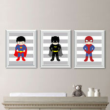 Superhero Wall Art Prints - Set of Three Prints 8 x 10