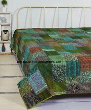 Indian Vintage Ikat Silk Kantha Patchwork Pretty Quilt Blanket King Size Throw