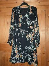 Ladies Black Floral Long Sleeved M&S LIMITED EDITION Ruffle  Dress Size 12