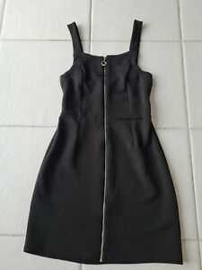 Black Ribbed Full Front Zip Bodycon Dress Size 8