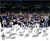 Blues 2019 Stanley Cup Champs Signed 16 x 20 Team Celebration Photo & Signatures