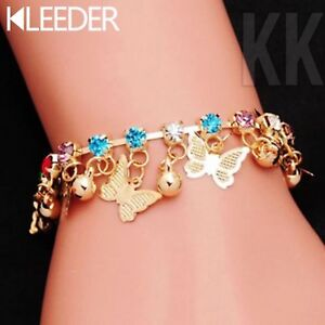 Butterfly Charm Bracelet For Girls Kids Hand Link Chain Colorful Crystal uk
