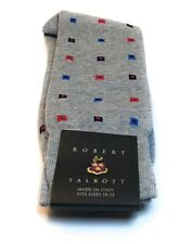 Robert Talbott Gray W/ Purple Red & Blue Squares Made in Italy Dress Socks NWT