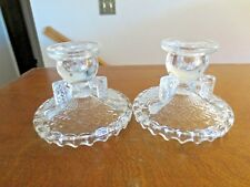 """Lot 2 Older Pressed Glass Single 3 1/2"""" Taper Candle Holders-3 Legs on Wide Base"""