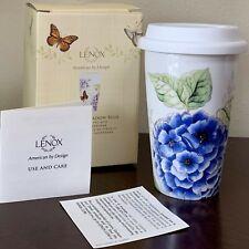 Lenox Butterfly Meadow Travel Commuter Mug Blue Flowers & Butterfly