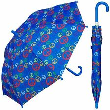"32"" Arc Children Kid Peace Sign Umbrella - RainStoppers Rain/Sun UV Cute"