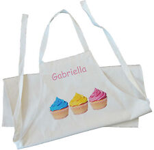 PERSONALISED - CUPCAKES IN A ROW - COTTON APRON - CREAM