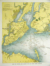Map of Brooklyn Staten Island 1899 SANDY HOOK Coney Island LONG ISLAND CITY Mat