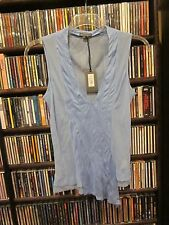 A/X Armani Exchange Light Blue V Neck Tank Silk Rayon Top Blouse L NEW  $88