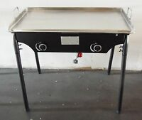 HEAVY 32 x 17 Wide Stainless Steel Flat Top Griddle Grill & Double Burner Stove