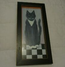 """CINDY SAMPSON  """"Country Cat"""" 1st in series of 4 Grey/ White Cat Black Frame 1999"""