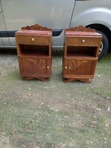 Pair Of French Vintage Art Deco Marble Top  Bedside Cabinets Cupboards Tables