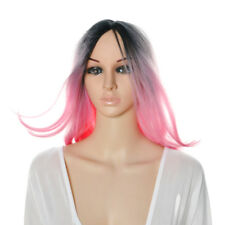 Women 35cm Ombre Black & Pink Wigs Heat Resistant Synthetic Long Straight Wigs