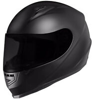 GLX Full Face Motorcycle Helmet Street Bike Matte Black DOT Approved + 2 Visors
