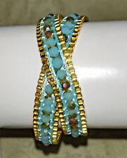 Wickelarmband / Halsband gold-türkis, modern, Satinband mit Glitzersteinen