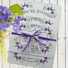 Personalised Vintage Wedding Invitation Set SAMPLE 'Fantasy Floral' Purple White