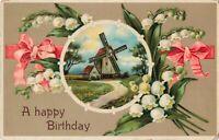 Postcard A Happy Birthday Windmill