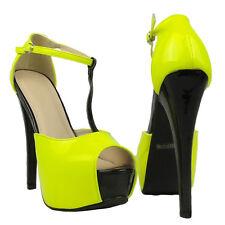 Womens Color Block T-Strap Platform Stiletto Peep Toe Pumps Yellow Sz 5.5-10